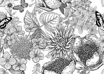Floral vector seamless pattern. Peonies, aster and hydrangea.