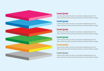 Vector of four 3D square layers infographic template