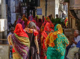 Women walking on street in Pushkar, India