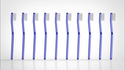 歯ブラシ 青 複数 側面