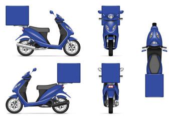 Fototapeta premium Dostawy motocykl wektor makieta dla marki pojazdu, reklamy, tożsamości korporacyjnej. Odosobniony szablon realistyczna błękitna hulajnoga na białym tle. Wszystkie elementy w grupach na osobnych warstwach