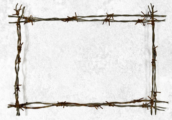 Barbed wire frame on the old wall