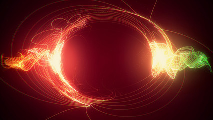Abstract red and green futuristic sci-fi plasma circular form. 3D illustration of shining energy force field light strokes waving on a ring motion path for logo or text. 4K Ultra HD