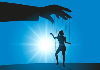 symbole de la femmes soumise avec une main d'un homme dirigeant une femme comme une marionnette qui doit lui obéir.