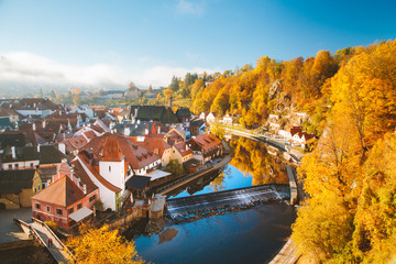 Historic town of Cesky Krumlov at sunrise in fall, Bohemia, Czech Republic