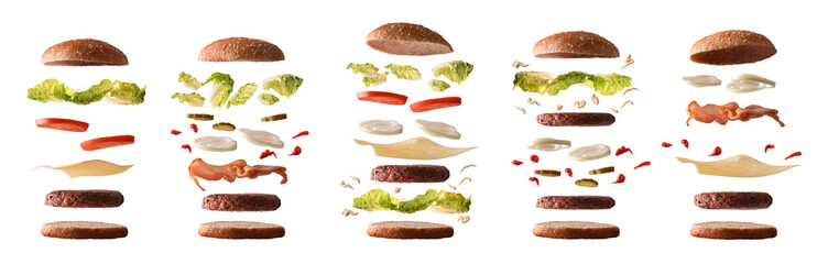 Photo sur Toile Snack Set of different burgers with ingredients by layers white isolated
