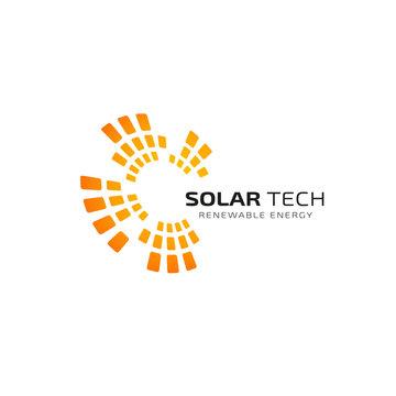 Sun solar energy logo design template. solar tech logo design