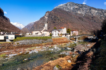 The village of Bignasco on Maggia valley