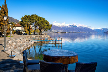 view of the small town Brissago and Maggiore lake in Ticino, Switzerland