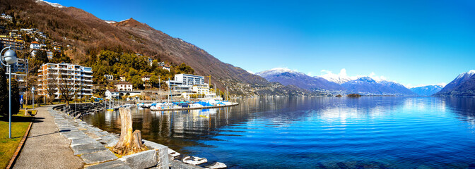 Promenade of Brissago at Lake Maggiore,Ticino Canton,Switzerland