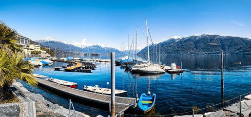 Promenade and Harbor of Brissago at Lake Maggiore,Ticino Canton,Switzerland