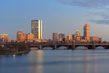 Boston John Hancock Tower, Prudential Center and Back Bay Skyline at twilight, viewed from Cambridge, Boston, Massachusetts, USA.