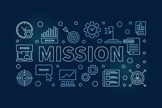 Mission vector blue outline illustration or banner on dark background