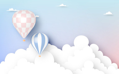 Hot air balloon paper art style with pastel sky backgroun
