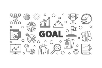 Vector Goal horizontal illustration. Business concept banner in outline style