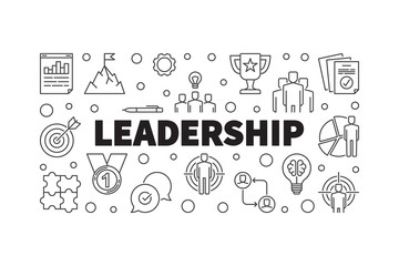 Vector Leadership creative horizontal outline concept illustration or banner