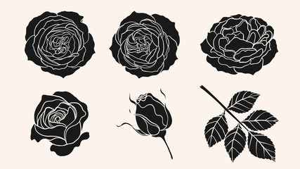Rose silhouette ornament vector by hand drawing.Beautiful flower on brown background.Sunset memory rose vector art highly detailed in line art style.Flower tattoo for paint or pattern.