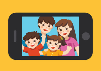 Happy family selfie photo on smartphone display. Selfie photo with Mother, father, son, daughter. Vector  illustration.
