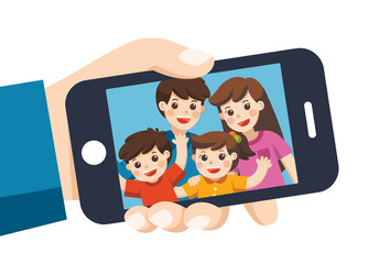 Human hand hold device and Selfie. Happy family selfie photo on smartphone display. Selfie photo with Mother, father, son, daughter. Vector  illustration.