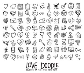 Set of Love icons Drawing illustration Hand drawn doodle Sketch line vector eps10