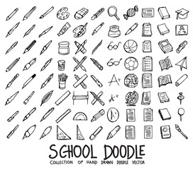 Set of School icons Drawing illustration Hand drawn doodle Sketch line vector eps10
