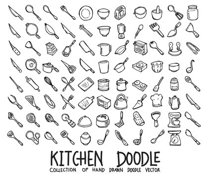 Set of Kitchen icons Drawing illustration Hand drawn doodle Sketch line vector eps10