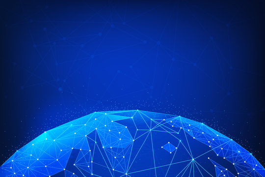 Blockchain technology futuristic hud background with world globe and blockchain polygon peer to peer network