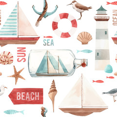 Watercolor marine vector pattern