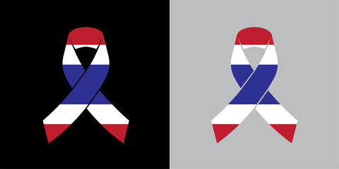 Mock up Thailand Mourning symbol with Thai Flag Respect ribbon background Banner. Rest in Peace Funeral Vector Illustration.