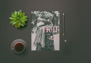 Magazine Layout with Pink Accents