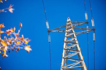 Low Angle High Voltage Tower with Blue Sky Background