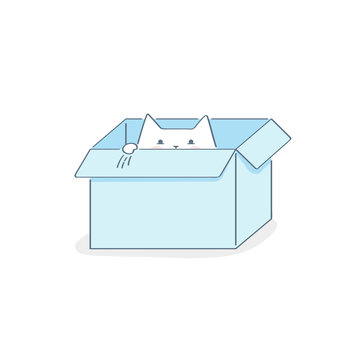 Cardboard box with a cat, cute outline vector illustration on white. File not found, 404 modern vector icon concept.