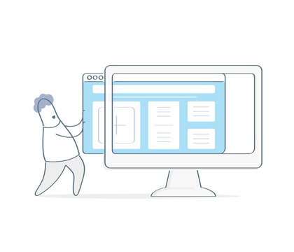 New website template launch, ux ui design updates, changing website design. Outline cartoon man uploading new website theme to computer monitor display