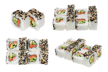 Sushi roll with salmon, cucumber, sesame and avocado. Isolated on white background.