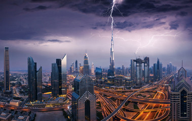 Dramatic Dubai view of downtown with lightning