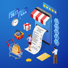 Internet Shopping Online Payments Isometric Concept