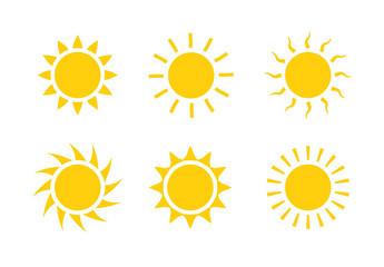Sun icon symbol illustration, Sunlight design weather. Flat sunshine isolated set of sun logo