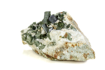 Macro mineral tourmaline stone on white background