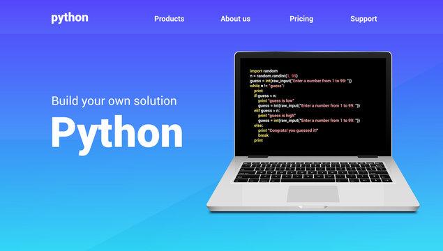 Python programming code technology banner. Python language software coding development website design