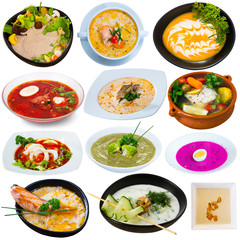 Set of various soups and broths