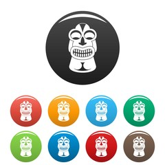 Tiki idol Hawaii icons set 9 color vector isolated on white for any design