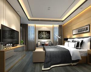 3d render luxury hotel room, hospitality
