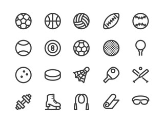 Sports Equipment Line Icon. Vector Illustration Flat style. Included Icons as Sport Balls, Basketball, Handball, Football, Badminton, Dumbbell and more. Editable Stroke. 30x30 Pixel Perfect