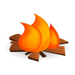 Forest campfire icon. Cartoon of forest campfire vector icon for web design isolated on white background