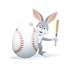 Easter sports greeting card. Cute Rabbit with Baseball Egg and Baseball bat. Vector illustration.