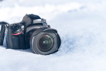 camera in the snow, winter photo session