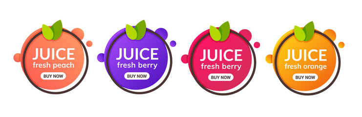 Juice fresh fruit label icon. Orange, lemon, berry, peach healthy juice design sticker Fotobehang