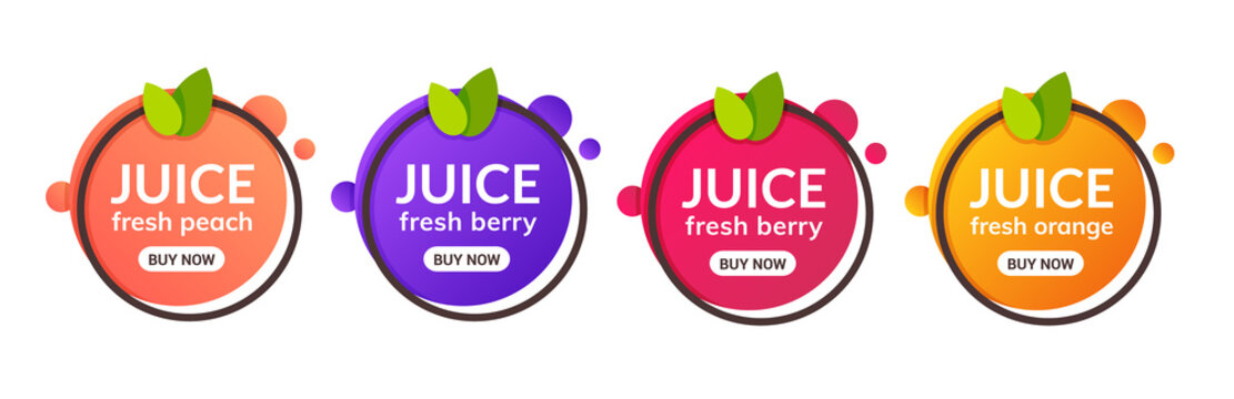 Juice fresh fruit label icon. Orange, lemon, berry, peach healthy juice design sticker