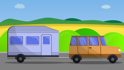 Camp car trailer concept banner. Cartoon illustration of camp car trailer vector concept banner for web design