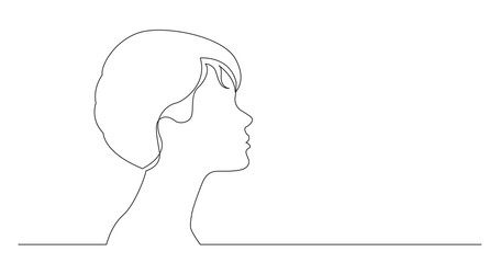 profile portrait of young elegant style woman - continuous line drawing on white background